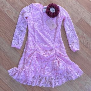 NWT Mia Belle Girls Pink Lace Dress